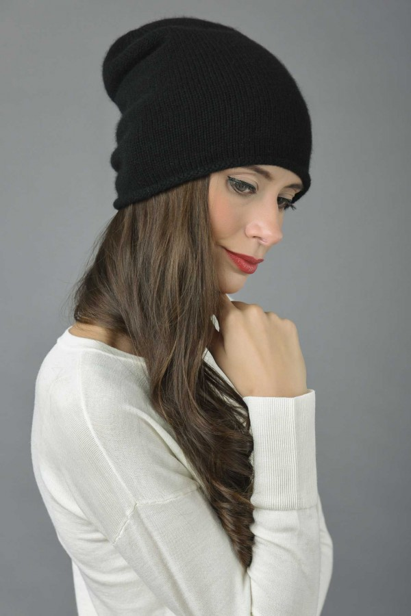 Pure Cashmere Plain Knitted Slouch Beanie Hat in Black