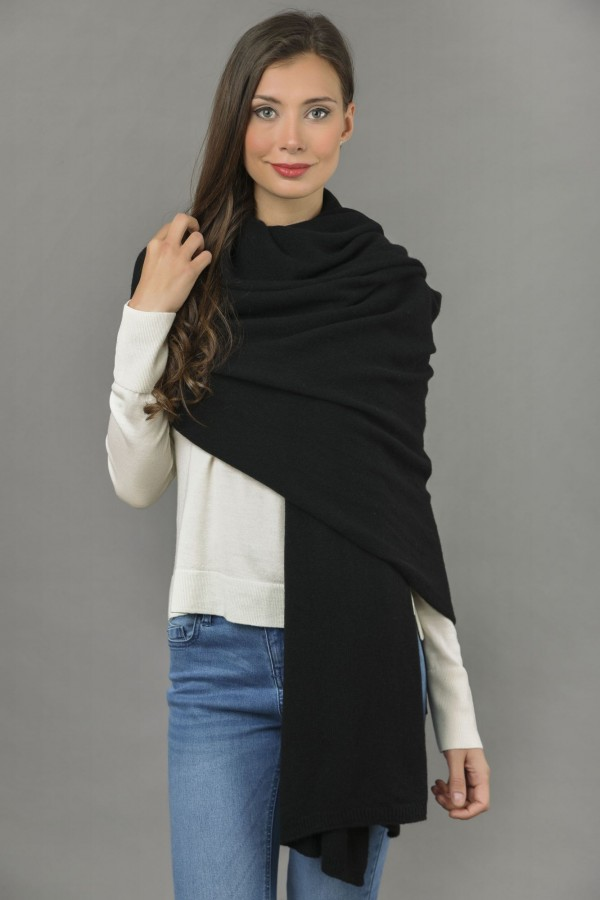 Knitted Pure Cashmere Wrap in Black front 1