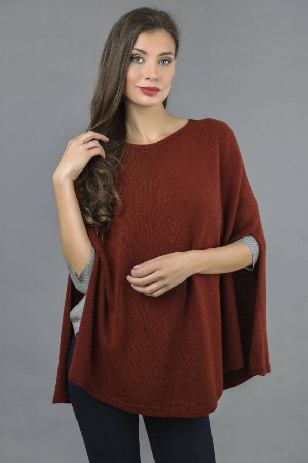 Pure Cashmere Plain Knitted Poncho Cape in Bordeaux front 1