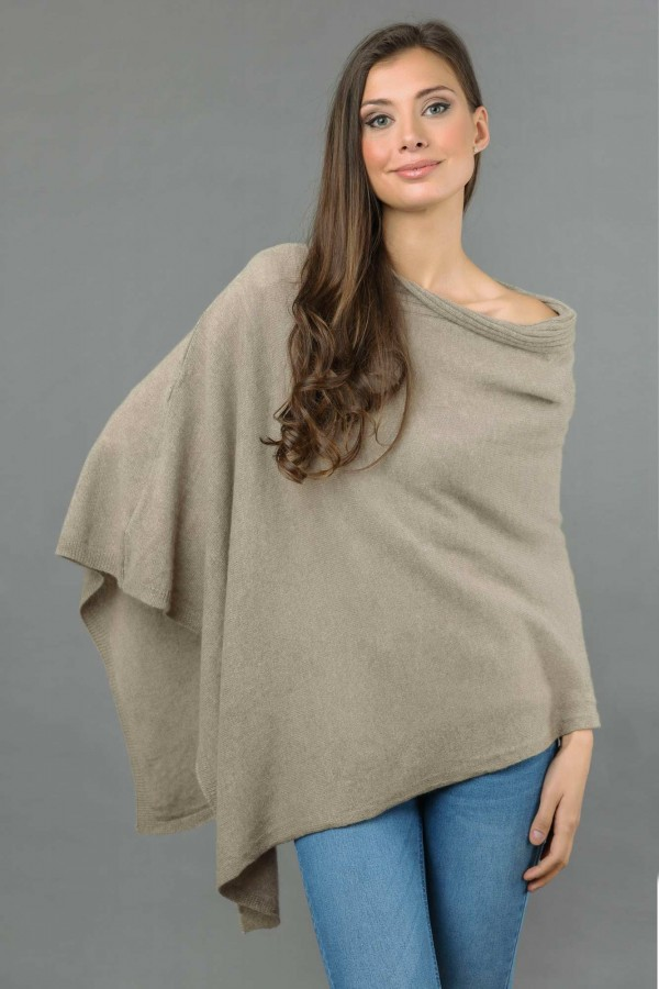 Pure Cashmere Knitted Asymmetric Poncho Wrap in Camel Brown front 1
