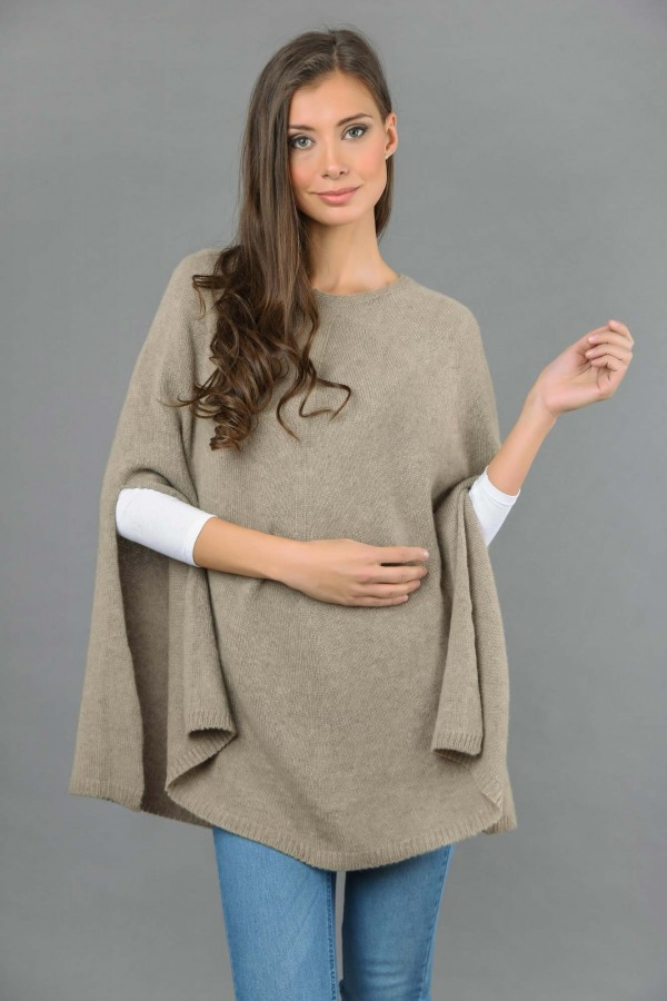 Pure Cashmere Plain Knitted Poncho Cape in Camel Brown front 1