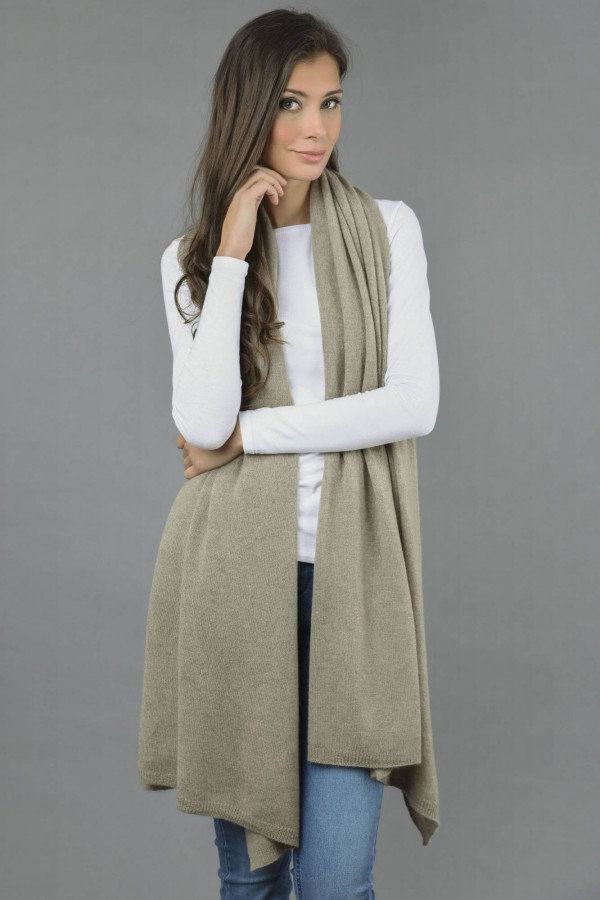 Knitted Pure Cashmere Wrap in Camel Brown front 1
