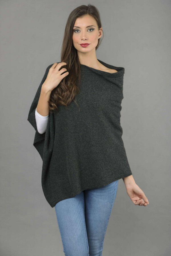 Pure Cashmere Knitted Asymmetric Poncho Wrap in Charcoal Grey front 1