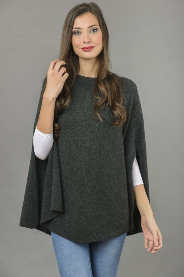 Pure Cashmere Plain Knitted Poncho Cape in Charcoal Grey front 1