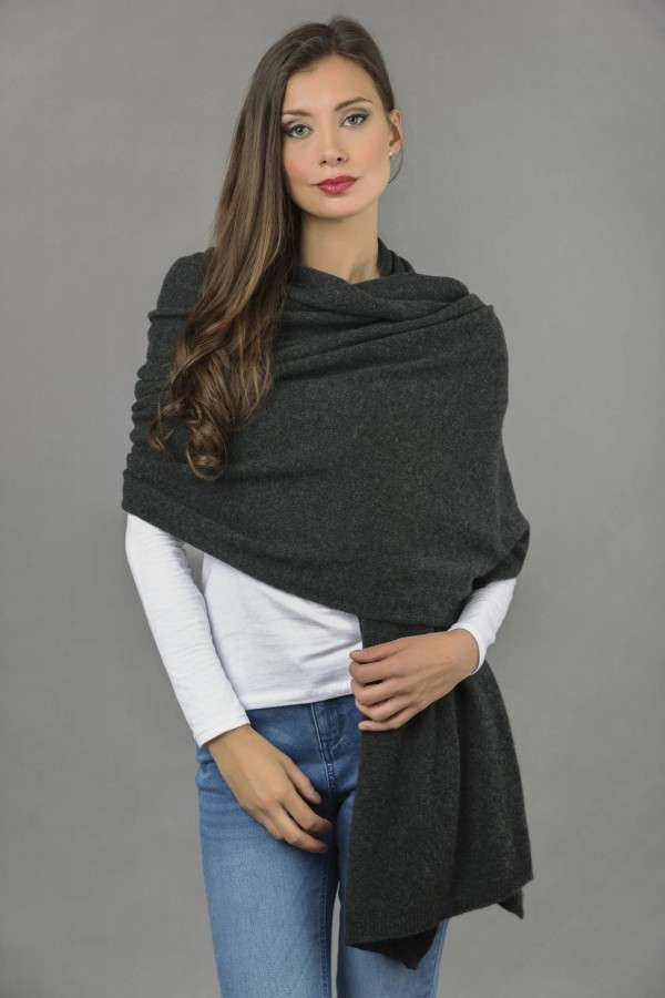 Knitted Pure Cashmere Wrap in Charcoal Grey front 1