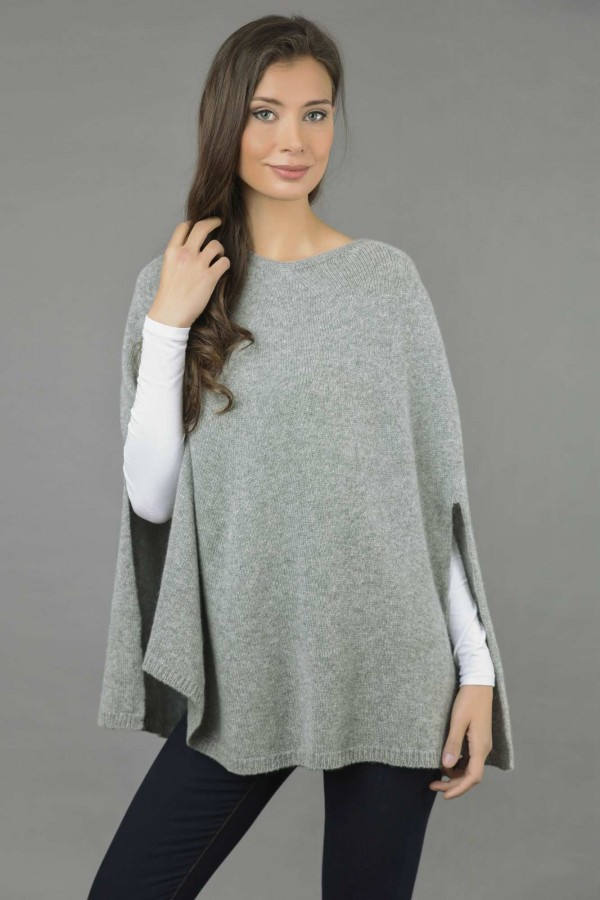Pure Cashmere Plain Knitted Poncho Cape in Light Grey front 2
