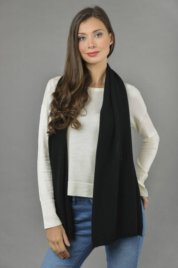 Pure Cashmere Plain Knitted Small Stole Wrap in Black front 1
