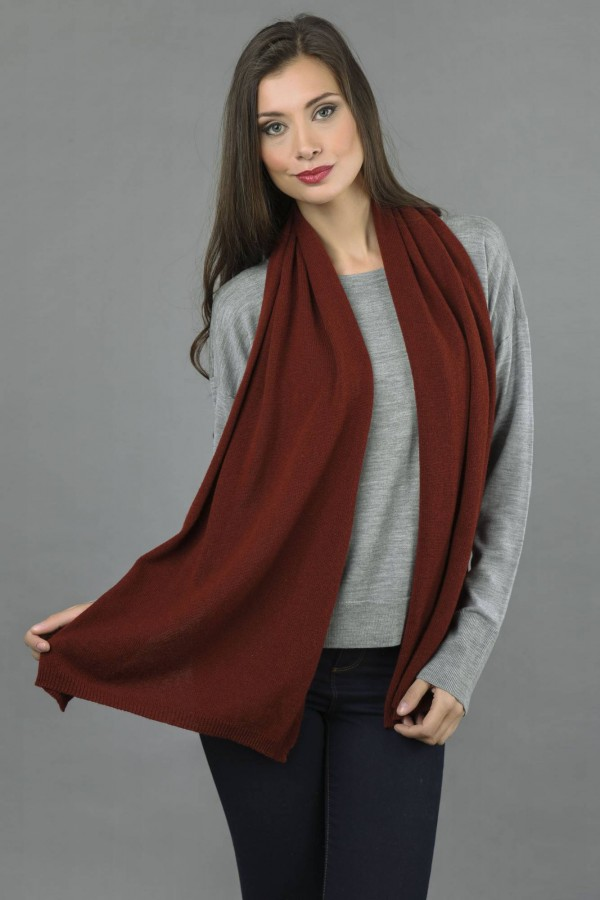 Pure Cashmere Plain Knitted Small Stole Wrap in Bordeaux front 1