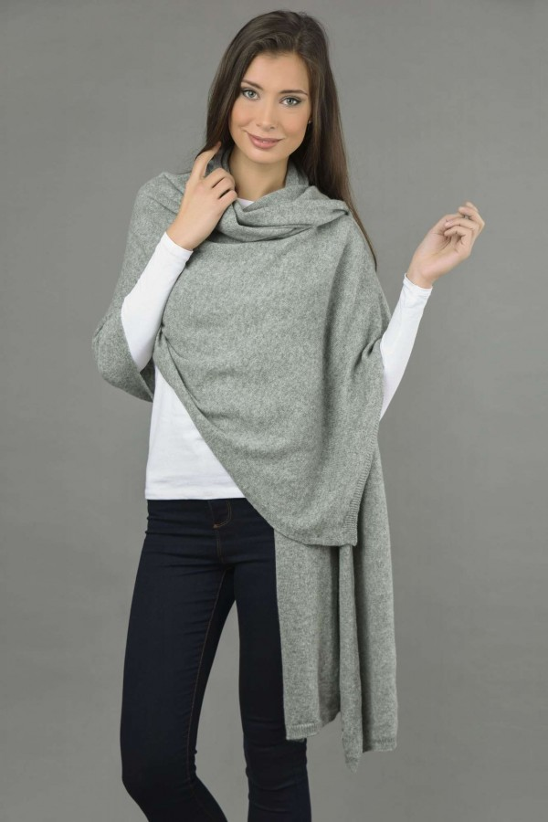 Knitted Pure Cashmere Wrap in Light Grey front 1