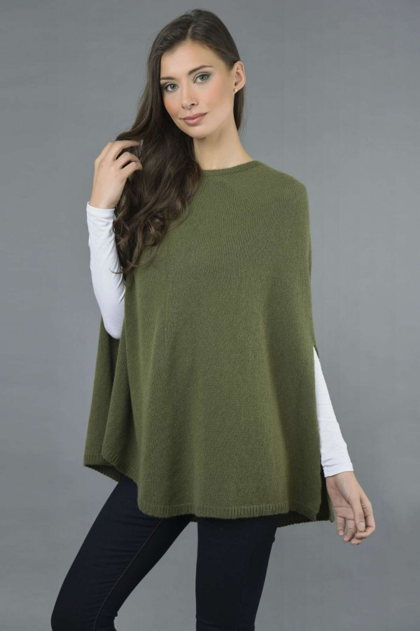 Pure Cashmere Plain Knitted Poncho Cape in Loden Green front 1