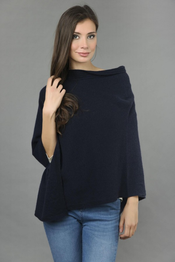 Pure Cashmere Knitted Asymmetric Poncho Wrap in Navy Blue front 1