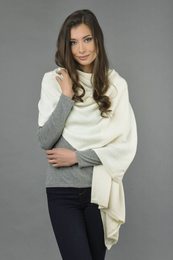 Knitted Pure Cashmere Wrap in Cream White front 1