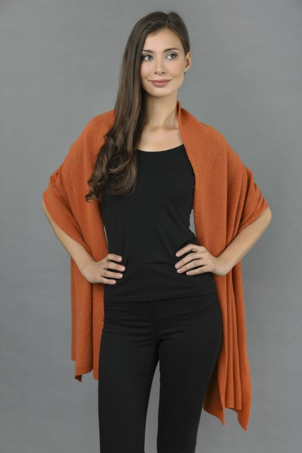 Knitted Pure Cashmere Wrap in Burnt Sienna front 1