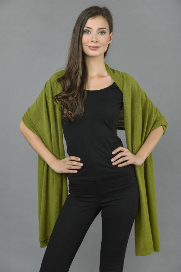 Knitted Pure Cashmere Wrap in Olive Green front 1