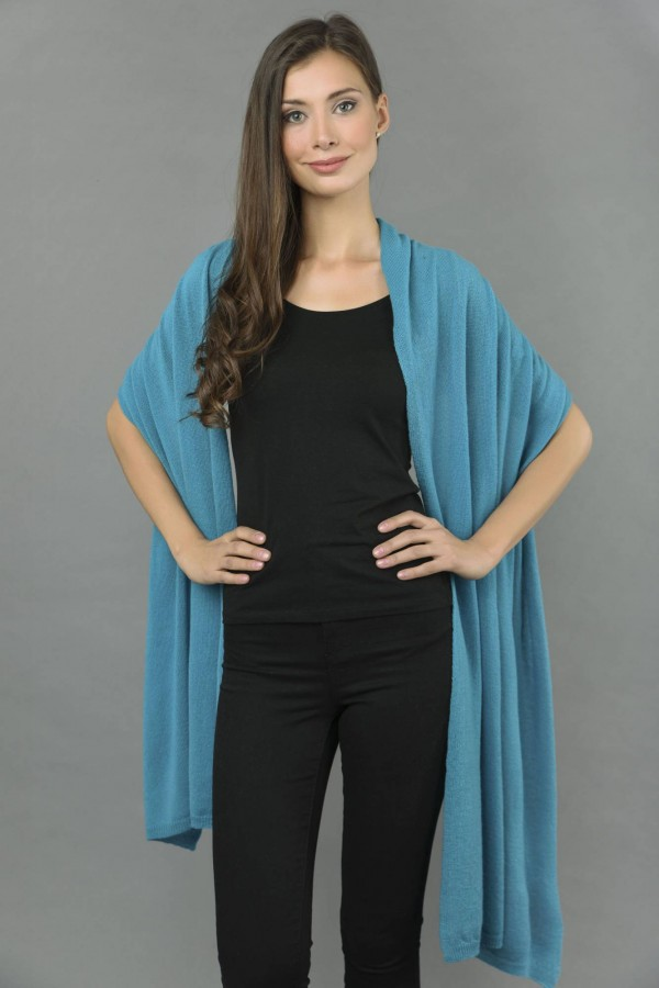 Knitted Pure Cashmere Wrap in Sea Blue front 1