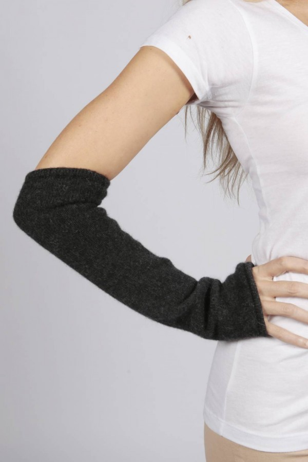 Charcoal Grey pure cashmere fingerless long wrist warmer gloves 1