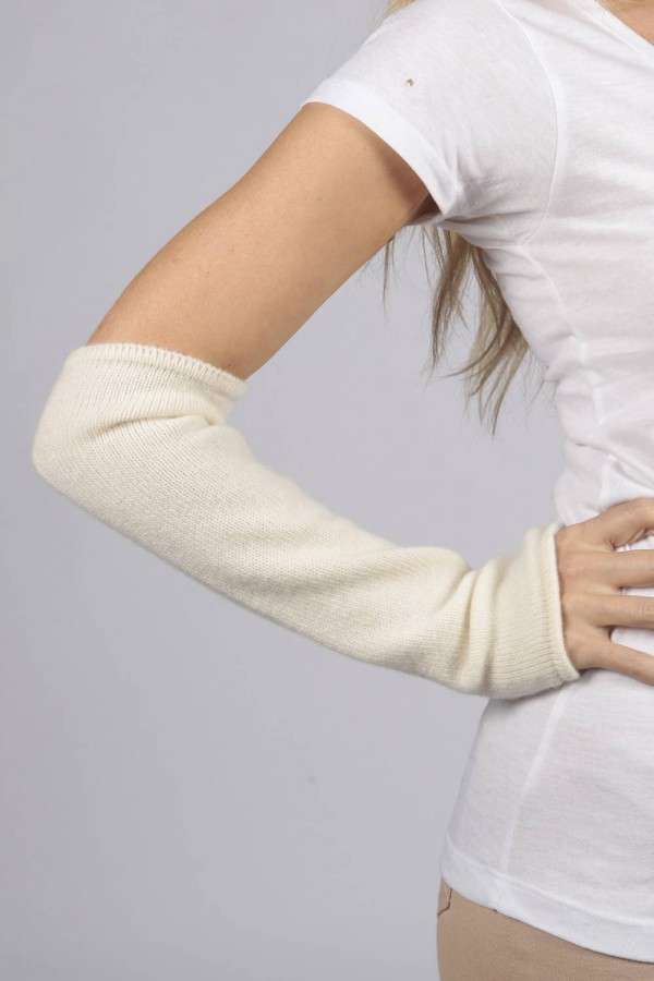 Cream White pure cashmere fingerless long wrist warmer gloves 1