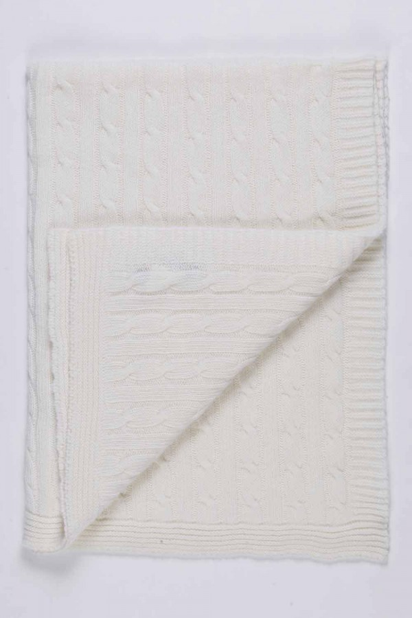 White pure cashmere baby blanket cable knit