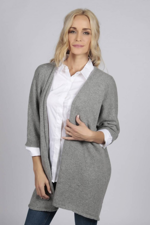 Light grey pure cashmere duster cardigan front