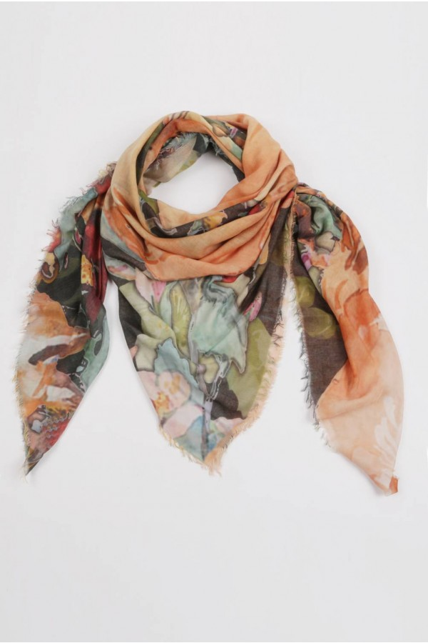 Summer scarf in bamboo wrap square shawl Fox print 01