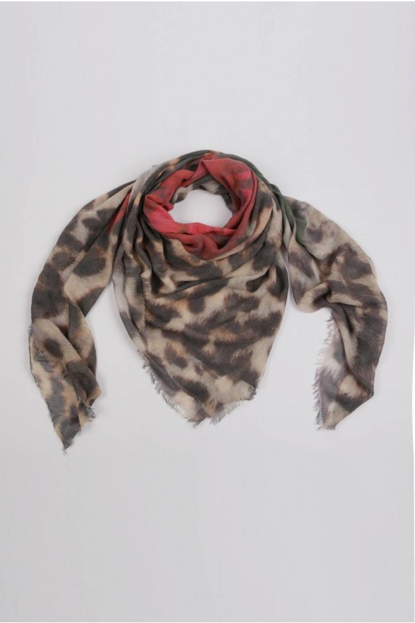 Summer scarf in bamboo wrap square shawl Rose print 3