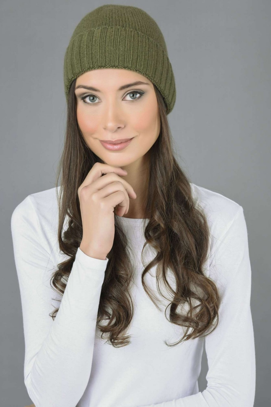 c44761d8908 Pure Cashmere Plain and Ribbed Knitted Beanie Hat in Loden Green ...