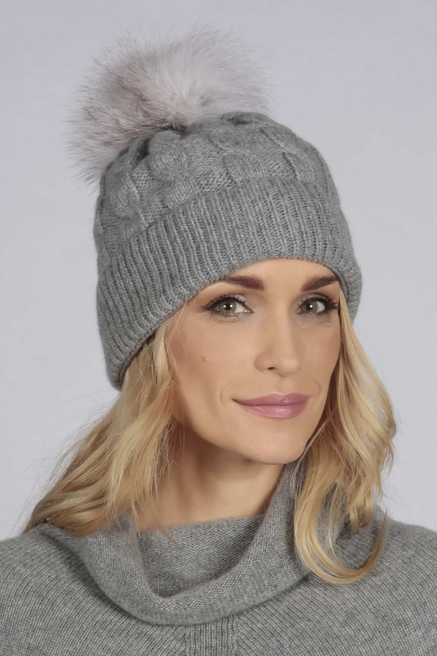 b3969fdd2f9 Light Grey pure cashmere fur pom pom cable knit beanie hat