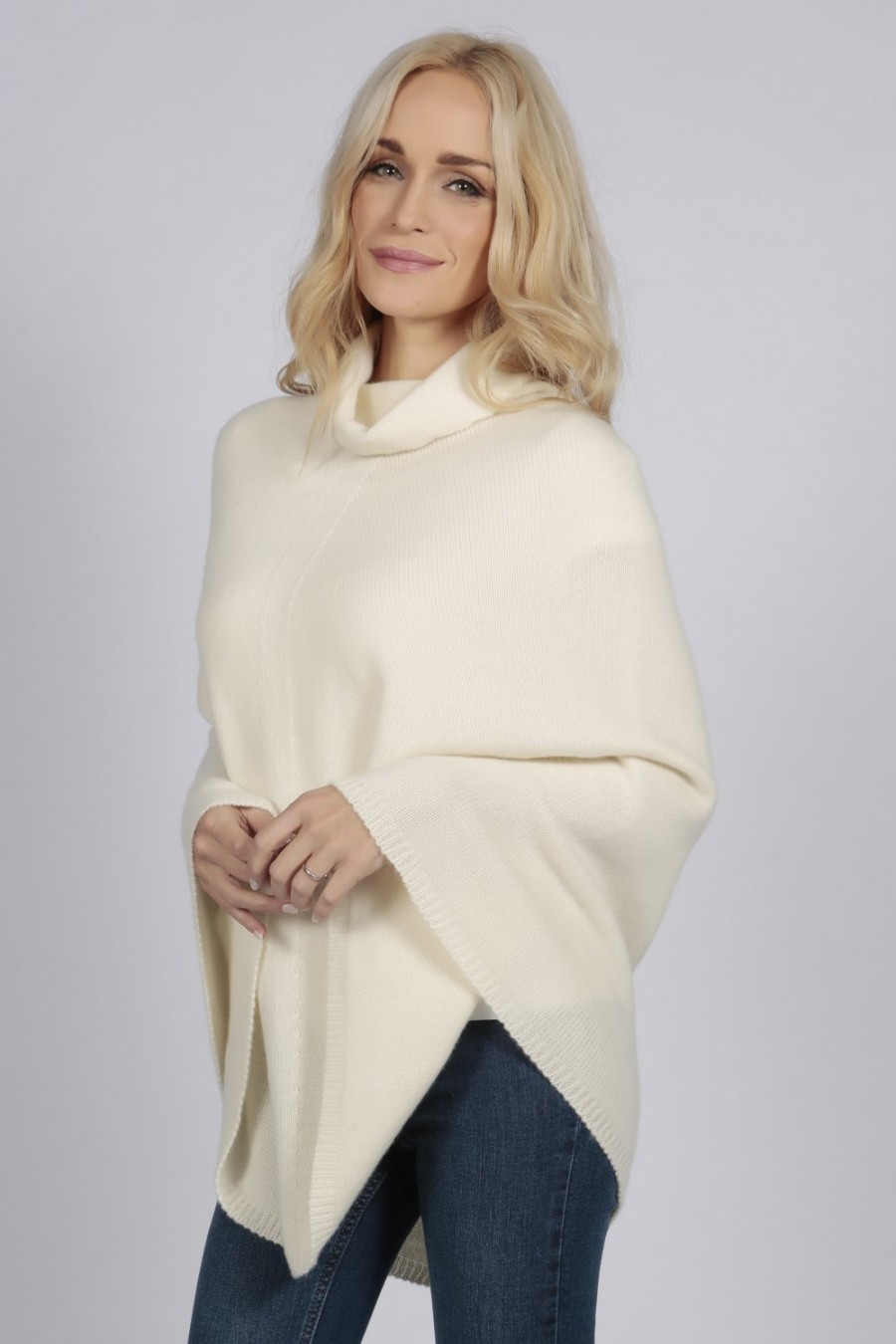 53d6af4cf Cream White pure cashmere roll neck poncho cape | Italy in Cashmere UK