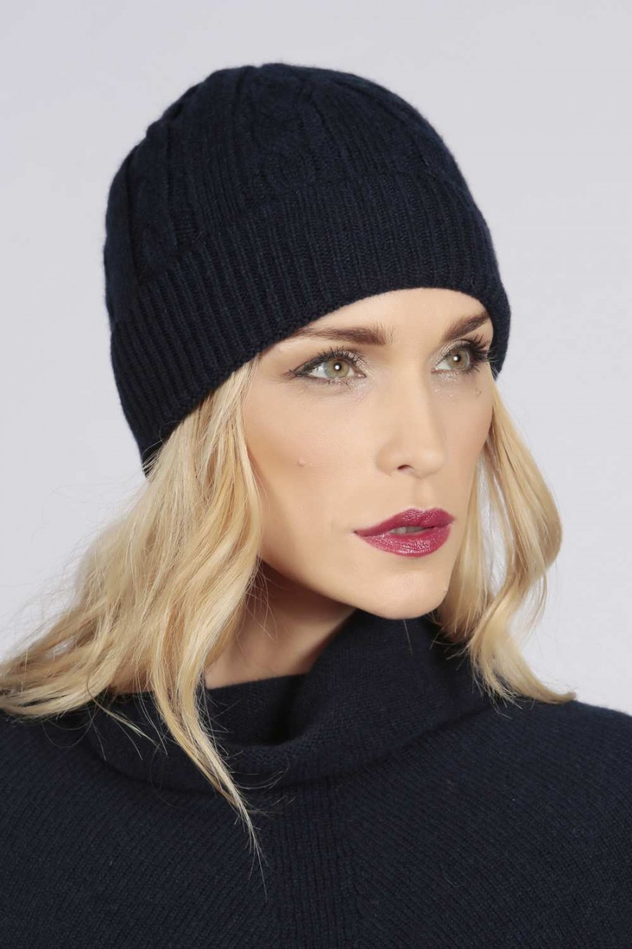 23ffbbf6235 Navy blue pure cashmere beanie hat cable and rib knit