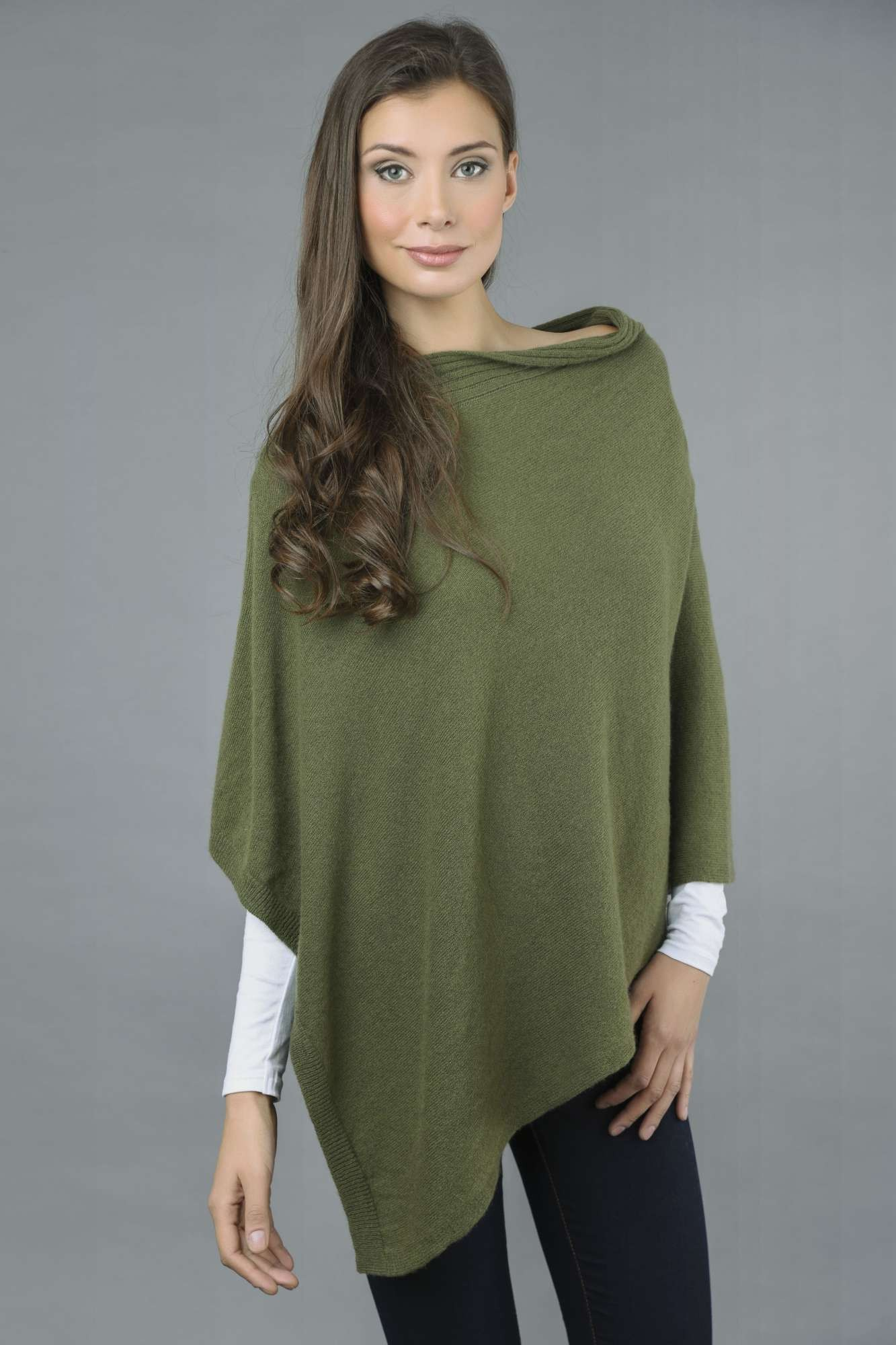 Pure Cashmere Knitted Asymmetric Poncho Wrap in Loden Green Italy in Cashmere