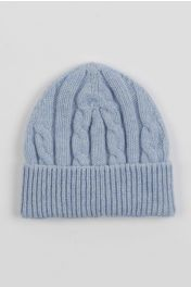 Baby cashmere beanie hat light blue