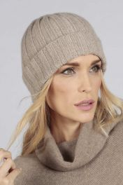 Camel brown beige pure cashmere wide ribbed fisherman beanie hat