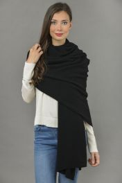 Knitted Pure Cashmere Wrap in Black
