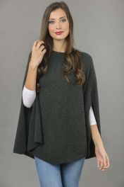 Pure Cashmere Poncho Cape, Plain Knitted in Charcoal Grey