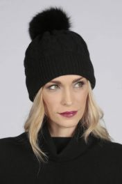 Black pure cashmere fur pom pom cable knit beanie hat