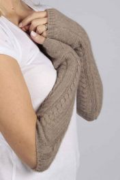 Camel Brown cashmere cable knit wrist warmers gloves