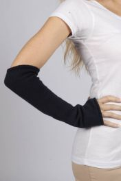 Navy Blue pure cashmere fingerless long wrist warmer gloves