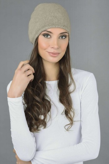 Pure Cashmere Plain Knitted Beanie Hat in Camel Brown