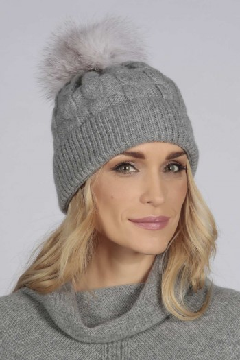 Light Grey pure cashmere fur pom pom cable knit beanie hat
