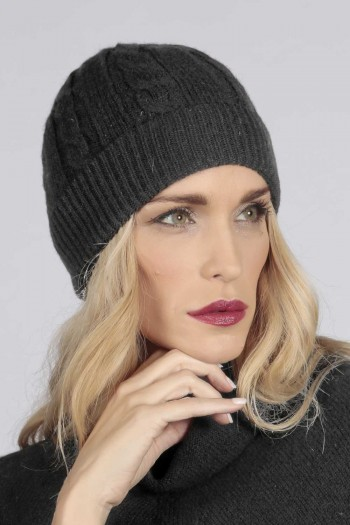 Charcoal grey cashmere beanie hat cable and rib knit