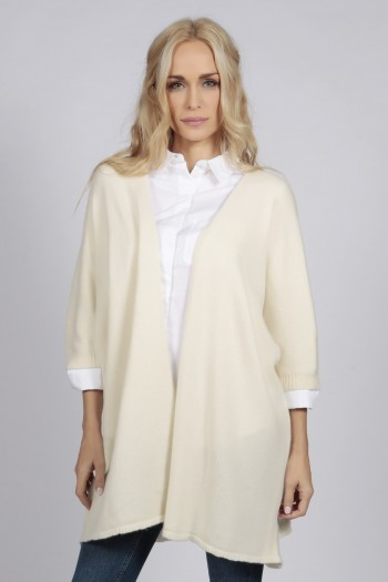 Cream white pure cashmere duster cardigan