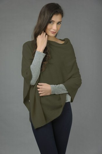 Pure Cashmere Knitted Asymmetric Poncho Wrap in Army Green