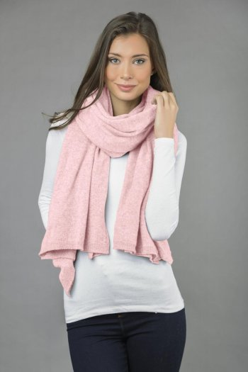 Knitted Pure Cashmere Wrap in Baby Pink