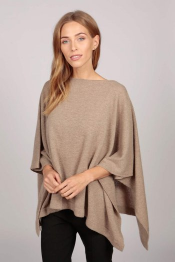 Cashmere boat neck poncho camel brown