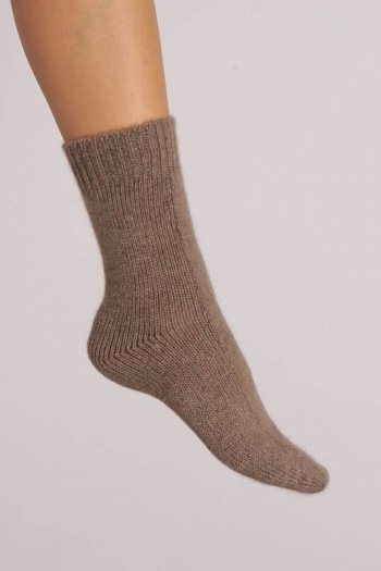Cashmere Bed Socks in Camel Brown Plain Knit