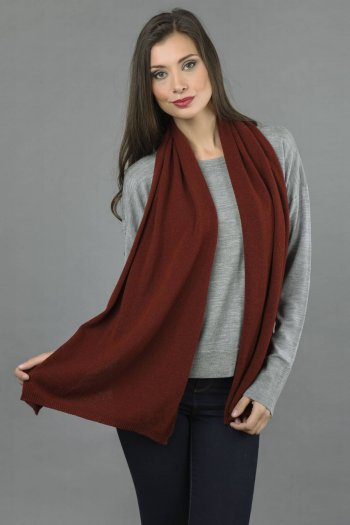 Cashmere scarf in Bordeaux plain knit