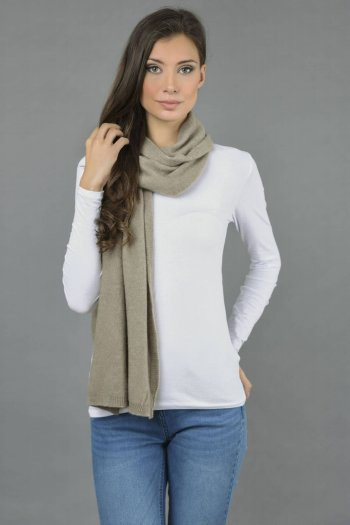 Cashmere scarf in Camel brown plain knit