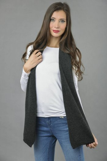 Cashmere scarf in Charcoal Grey plain knit