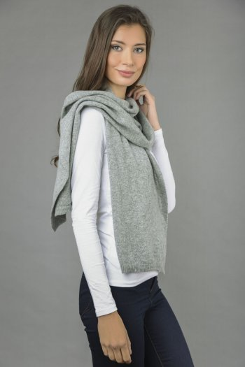Cashmere scarf in Light grey plain knit
