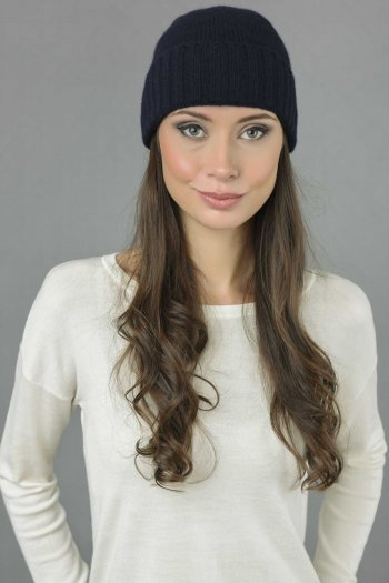 Pure Cashmere Plain and Ribbed Knitted Beanie Hat in Navy Blue